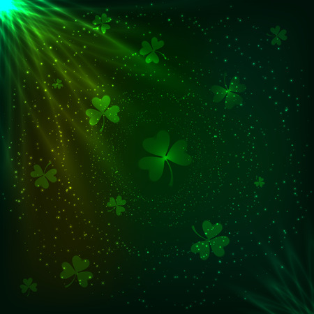 Shining green lights and clovers magic vector background Vector