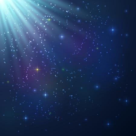 Helder blauw en violet glanzende kosmische vector achtergrond Stock Illustratie