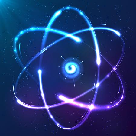 Brillante átomo azul luces de neón esquema vectorial