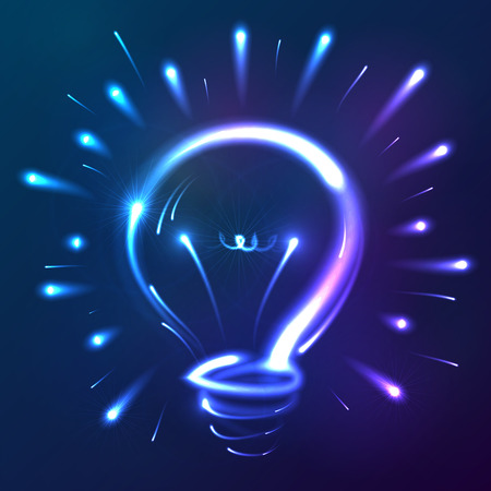 neon lights: Bright blue neon lights vector abstract bulb