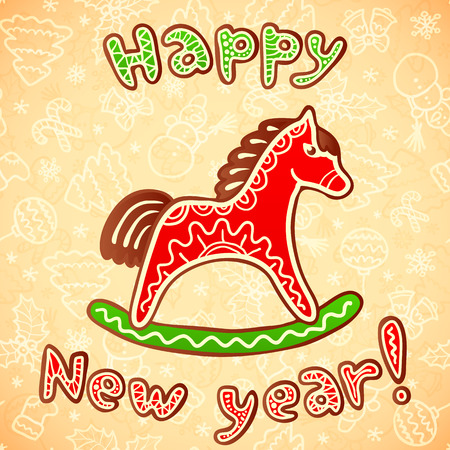 New year and christmas sweet vector horse Vector