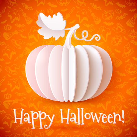 Bright Halloween whiye paper vector pumpkin on orange ornate background Vector