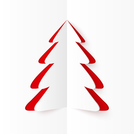 White and red cutout paper Christmas tree, vector greeting card template