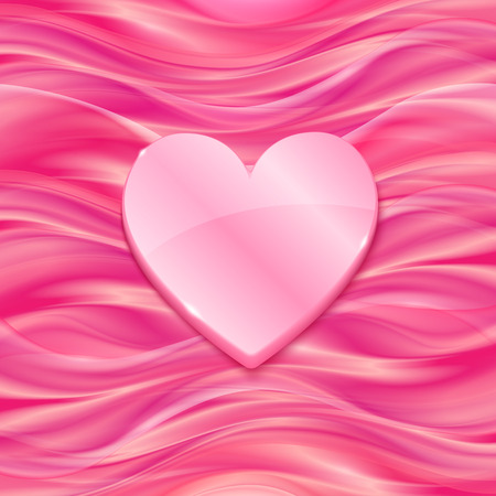 satiny cloth: Pink glossy heart on silky vector background Illustration