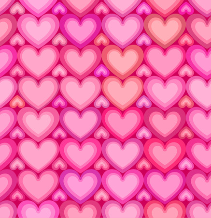 vector hearts: Valentines day pink hearts vector seamless pattern