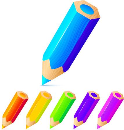 Helder gekleurde potloden vector set
