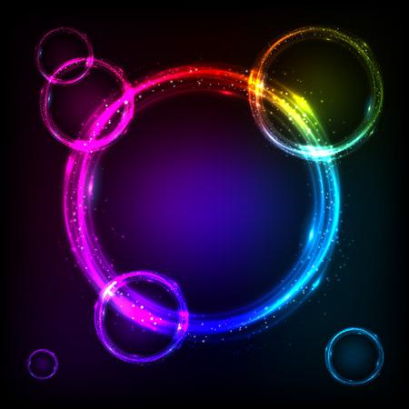 Shining rainbow colors circles cosmic vector background