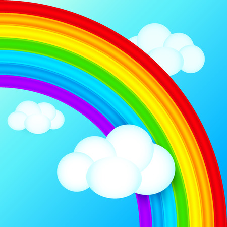 Bright vector rainbow in sky with white clouds Vector
