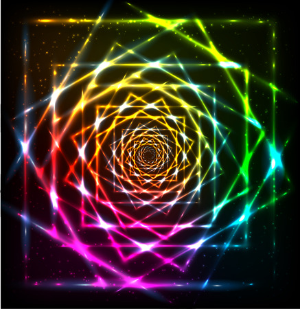 spiral vector: Abstract neon shining lines spiral vector background Illustration