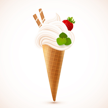 Soft ice cream with strawberry and waffles, vector illustration