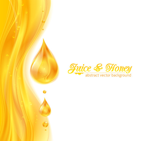 Honey colors juicy vector background with drops Illustration