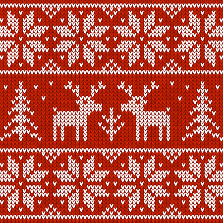 red deer: Red vector knitted sweater with deer seamless pattern Illustration