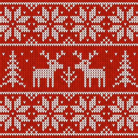 sueter: Suéter hecho punto rojo del vector con los ciervos patrón transparente Vectores