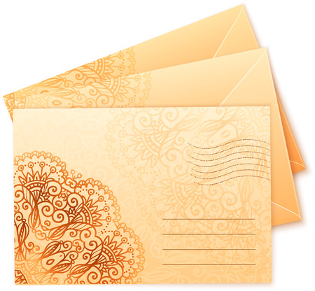 envelops: Vintage beige colors ornate isolated vector envelops Illustration