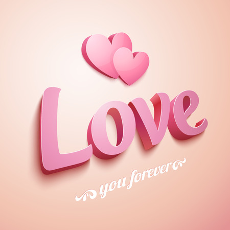 lovely couple: Realistic pink plastic Love sign with hearts