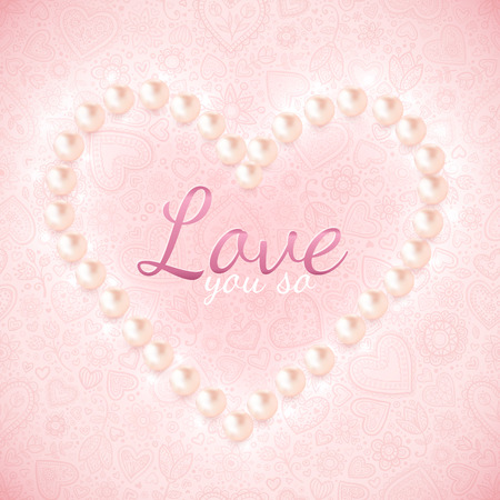 Light pink vector ornate background with pearly heart Vector