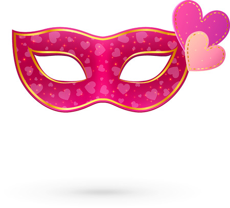 decoration decorative disguise: Pink vector carnival mask with hearts and shadow