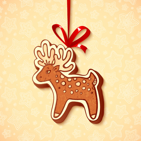 Hand-drawn vector gingerbread deer with red ribbon