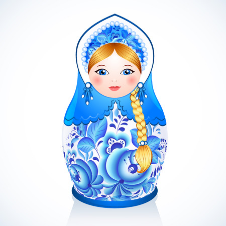 Blue Russian traditional vector doll painted in Gzhel style