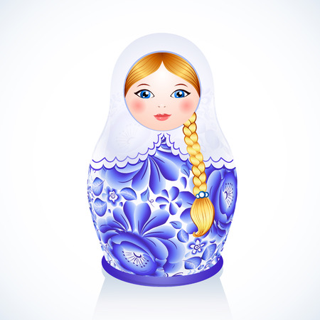 Blue Russian traditional vector doll painted in Gzhel style Illustration