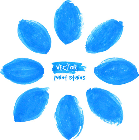 Blue vector felt tip pen textured stains flower Vector