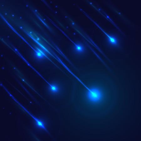 Luminoso meteoritos azul vector om fondo azul oscuro