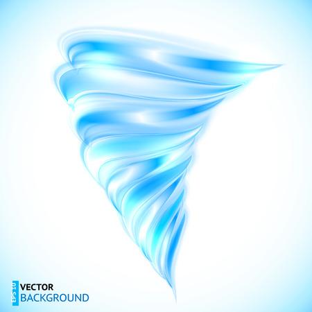輝く光沢のある青いベクトル分離ツイスト竜巻