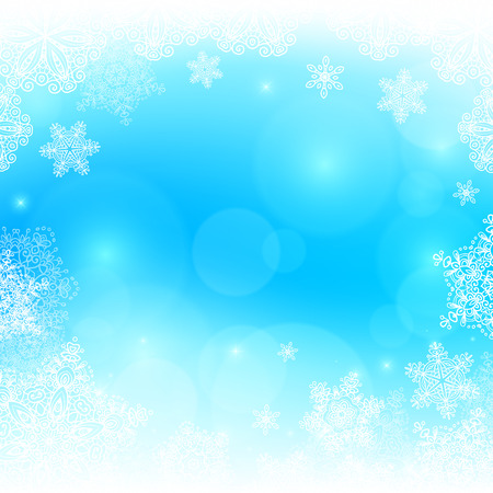 frosted window: Blue snowy blurred background with bokeh effect