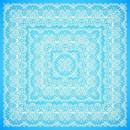Ornate lacy blue and white vector shawl ornament Vector