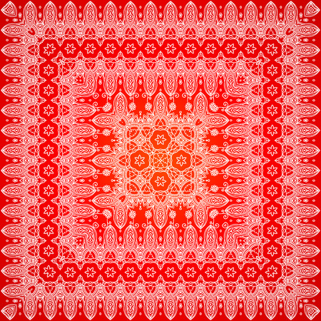 bandanna: Red ornate lacy shawl vector border pattern