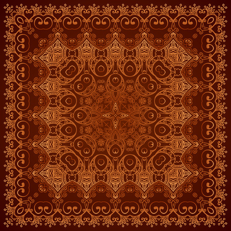 antique fashion: Vintage brown lacy ornate shawl vector pattern