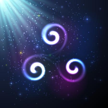 Shining vector Triskel in magische licht en de sterren Stock Illustratie