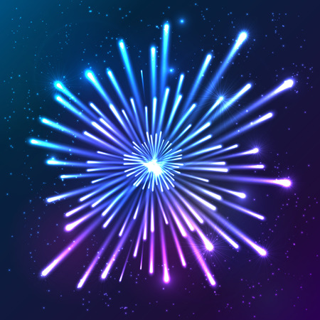 Bright neon shining lights blue and violet vector firework Vector
