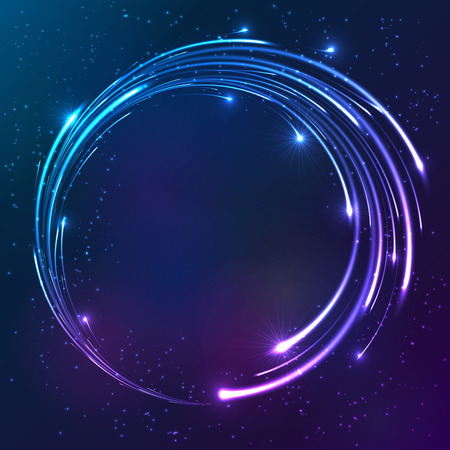 day night: Bright colors shining neon lights vector circle background