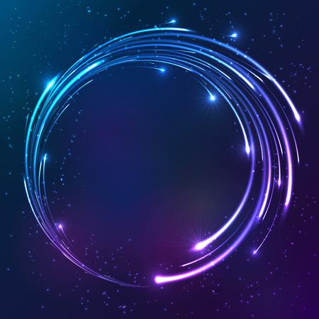 dia y noche: Los colores brillantes brillantes luces de neón del vector del fondo del círculo