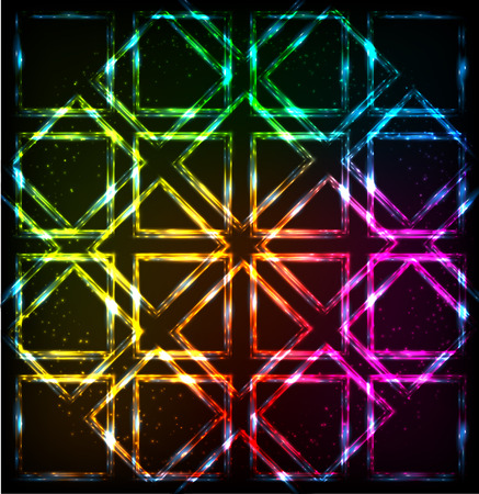 energize: Shining neon lights rainbow squares vector background Illustration