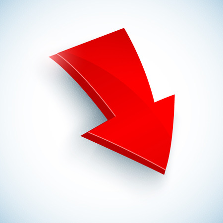Big 3d red vector arrow icon with shadow Vector