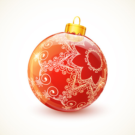 christmas ball: Red ornate shining vector glossy Christmas ball
