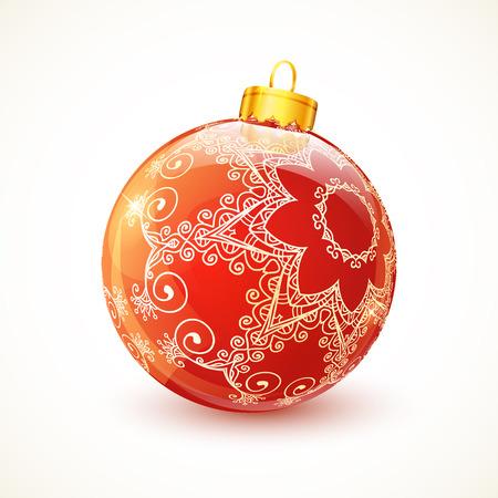 christmas ball: Red ornate shining vector glossy Christmas ball