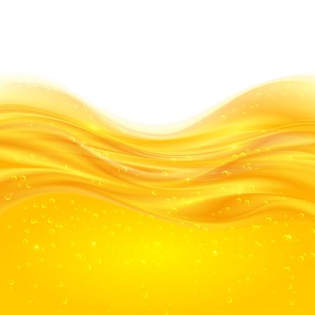 bubble background: Giallo olio o succo di vettore liquido sfondo