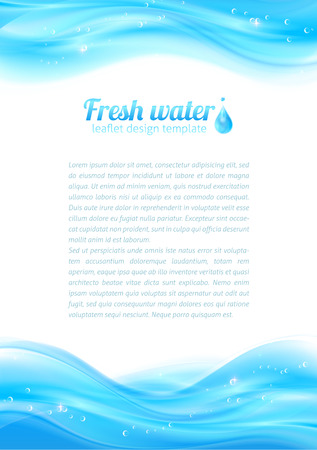 Fresh water vector leaflet template Vector