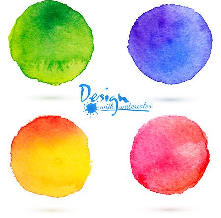 watercolours: Cuatro vector colorido acuarela c�rculo salpicaduras conjunto