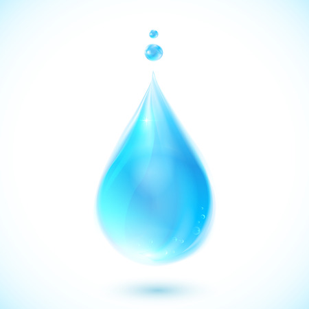 Blue vector isolated realistic water drop on white background Illustration