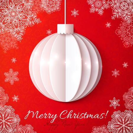 Wihite origami paper vector Christmas ball on red background Vector