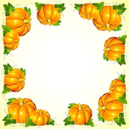 Bright orange vector pumpkins with foliage frame Vector