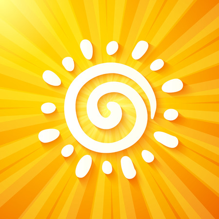 radial background: White vector cutout paper sun on yellow background Illustration