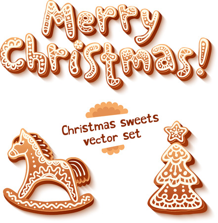 Merry Christmas gingerbread sign, horse and trees vector set