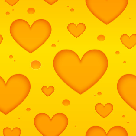 swiss cheese: Yellow cheese hearts holes vector seamless pattern