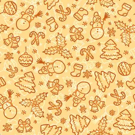 Cookies colors christmas vector seamless pattern in doodle style Vector
