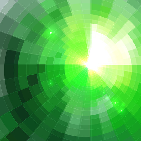 wormhole: Abstract green shining circle lined tunnel background